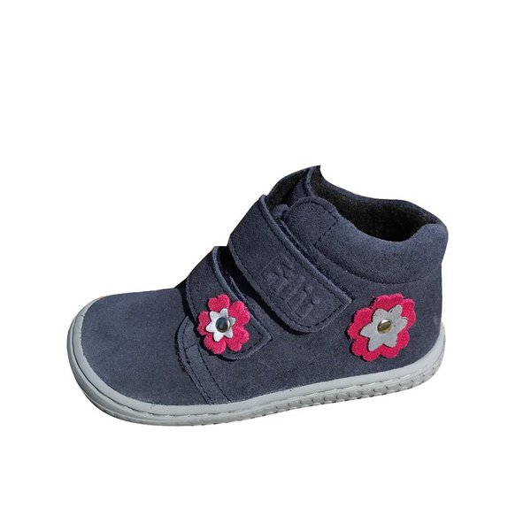 Bottines Filii Chameleon velours ocean velcro fleece flower 192014-F26