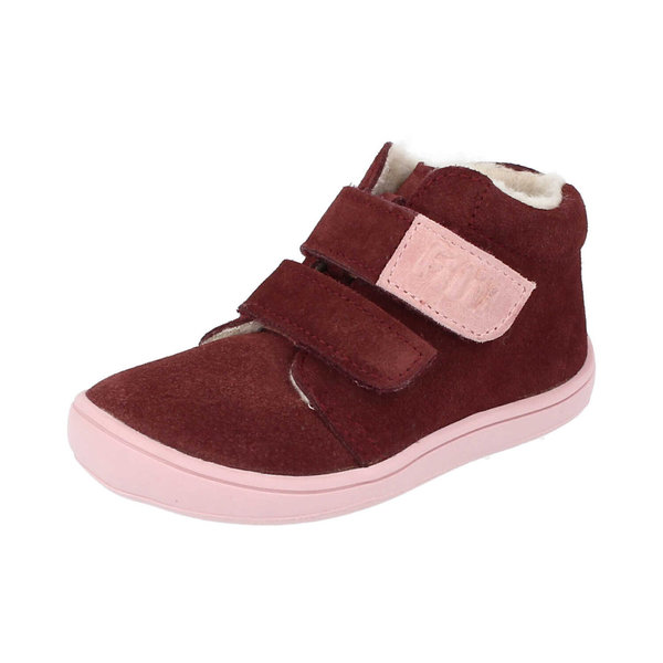Bottines fourrées laine Filii Chameliion velours rasberry velcro 202112-W1
